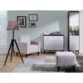 Wohnzimmer-Set Vodie Gloss mit Polsterhocker III