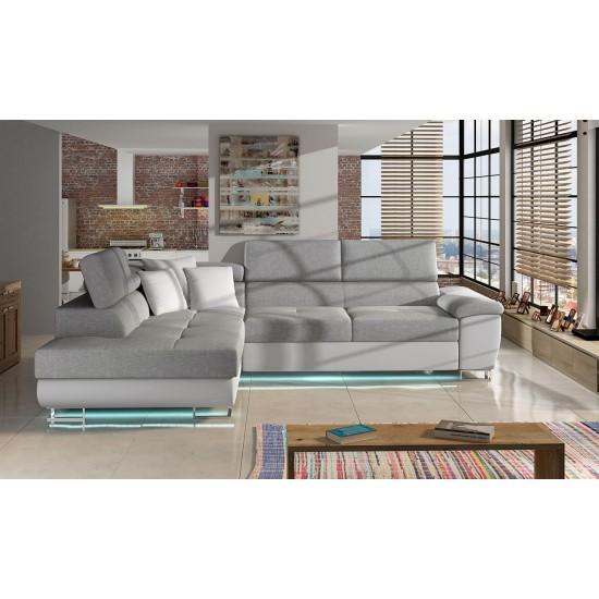 Ecksofa Bajkal LED mit Bettkasten und Schlaffunktion