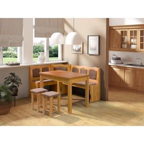 Eckbank + Tisch und zwei Hocker Ely