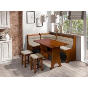 Eckbank + Tisch und zwei Hocker Pluton