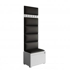 Garderoben-Set Loremis 60 (Schuhschrank und Kleiderhakenbrett) + 6 Stück gepolsterte Wandpaneele Pag 30x30
