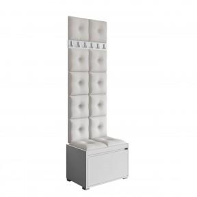 Garderoben-Set Loremis 60 (Schuhschrank und Kleiderhakenbrett) + 12 Stück gepolsterte Wandpaneele Pag Pik 30x30