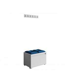 Garderoben-Set Loremis 60 (Schuhschrank und Kleiderhakenbrett) + 2 Stück gepolsterte Sitzpaneele Pag Pik 30x30